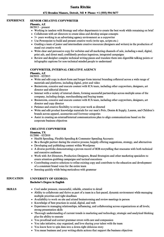 sample senior copywriter resume