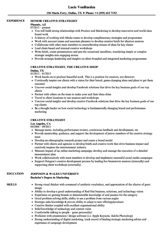 content strategist resume sample