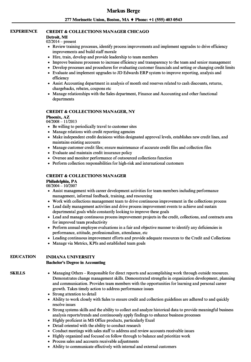 credit and collections resume samples