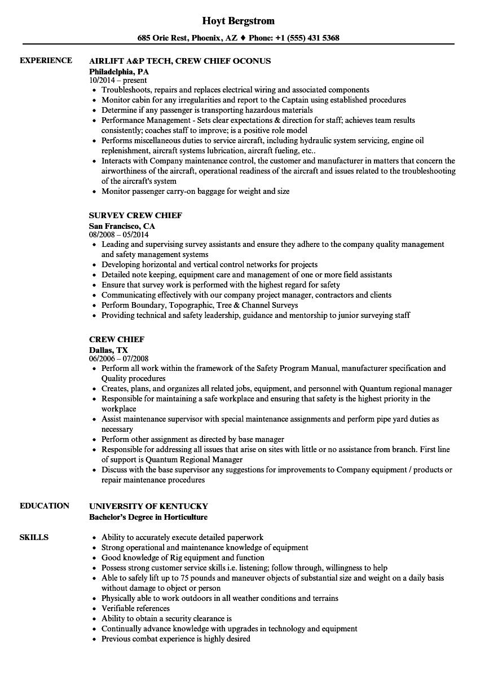 crew chief resume