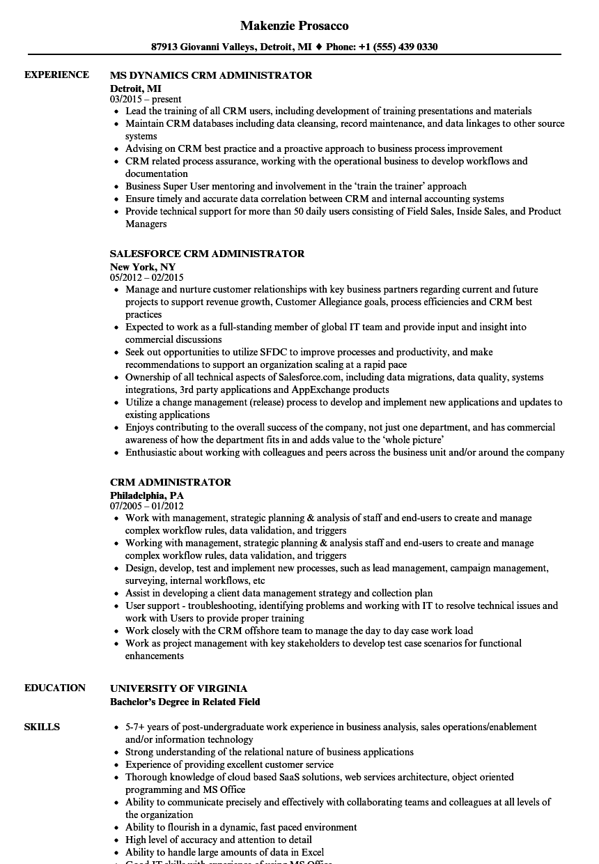 crm executive resume sample