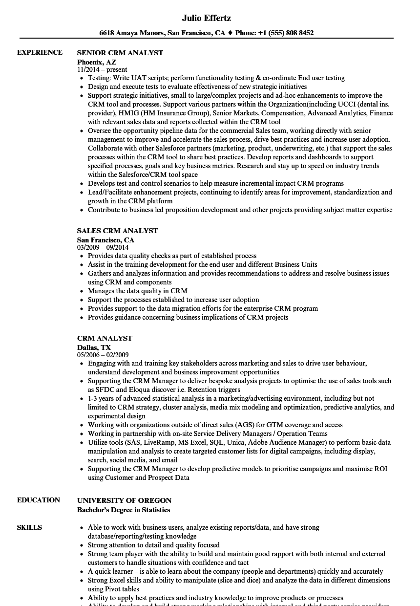 crm experience on resume examples