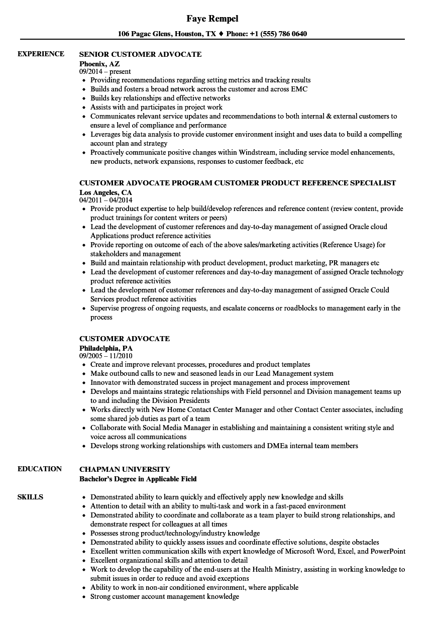 patient advocate resume examples
