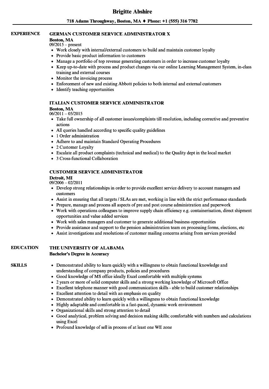 sample resume for customer service director
