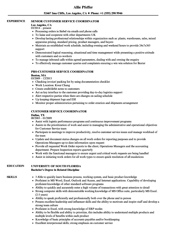 customer service intern resume