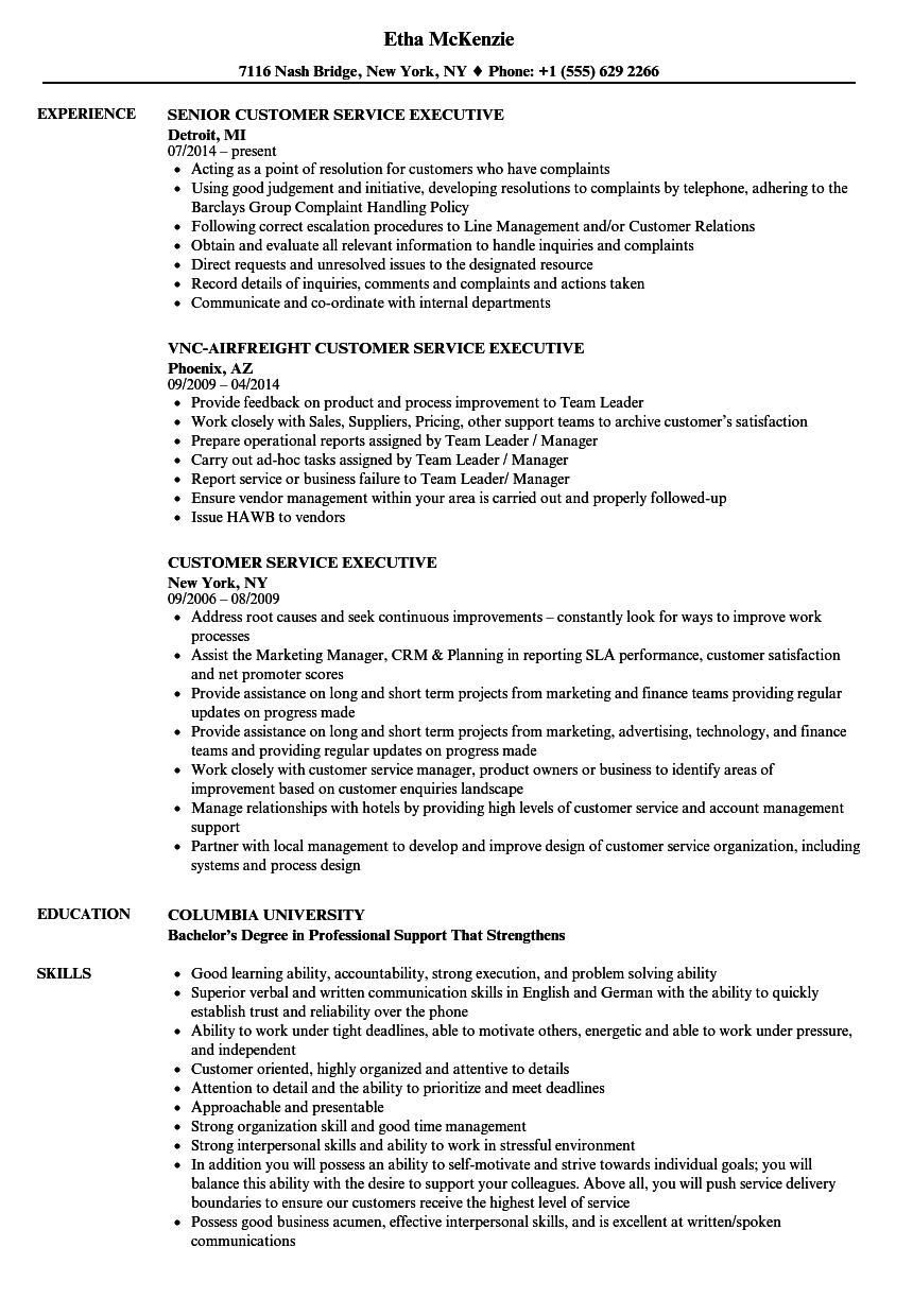 example resume for customer care executive