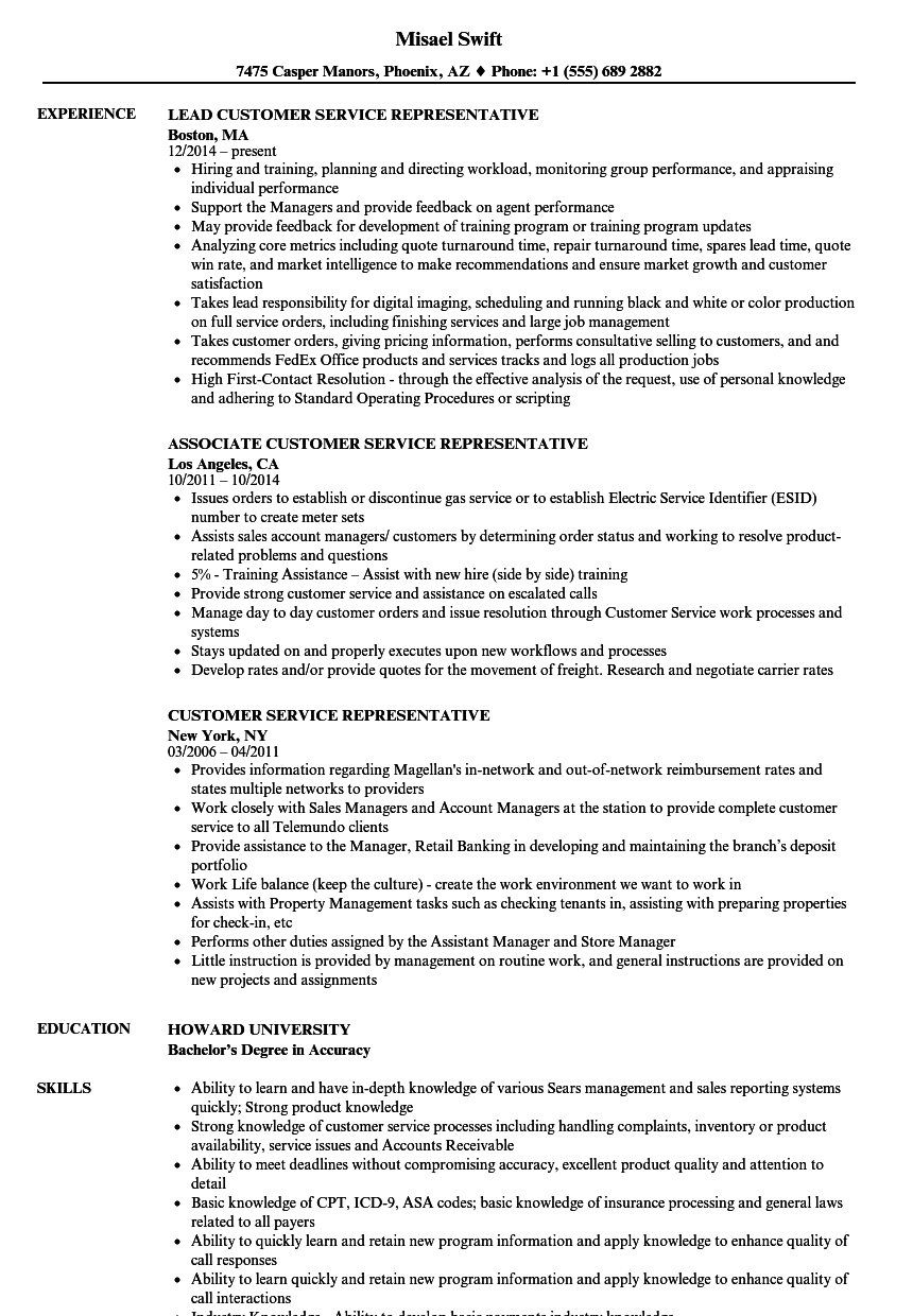 resume insurance customer service representative