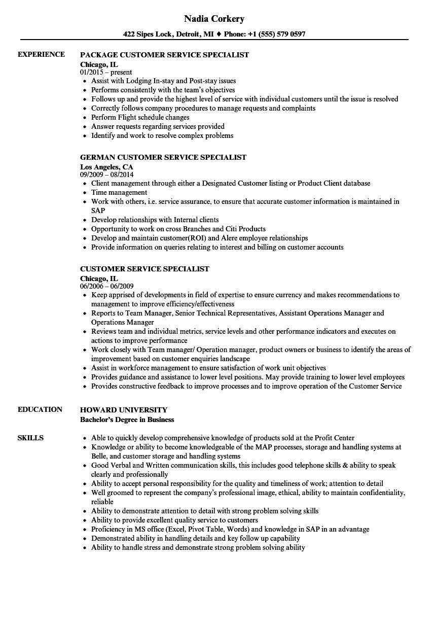 sample resume for customer relations specialist
