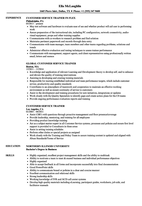sample resume for customer service training