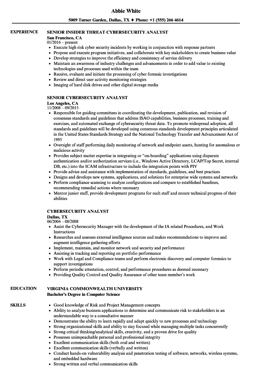 cyber security student resume sample