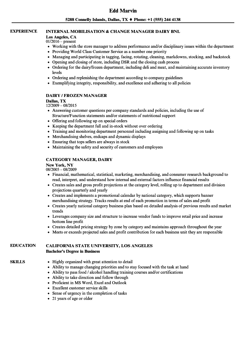 dairy farm manager resume sample