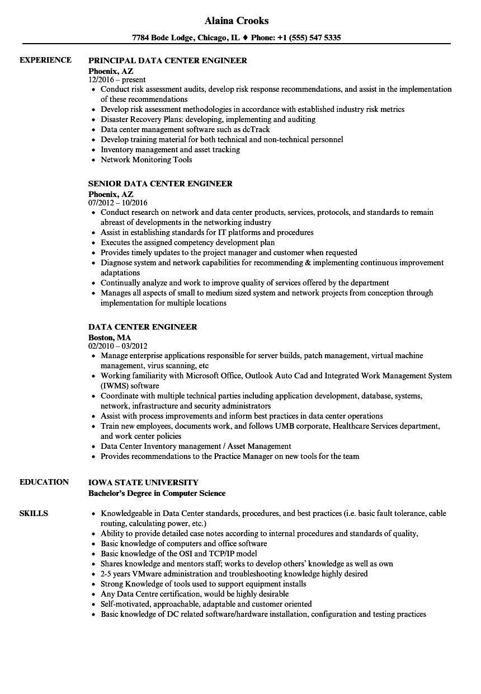data center administrator resume sample