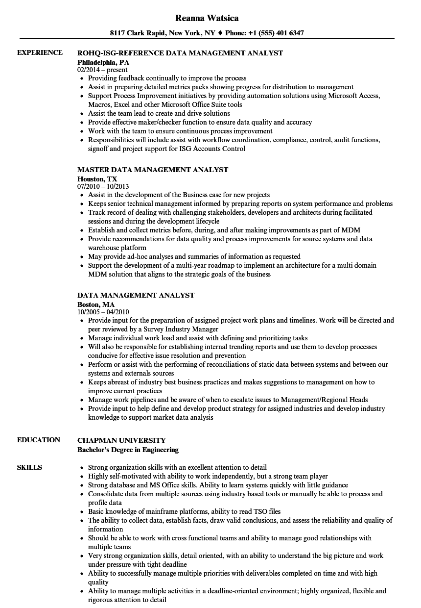 data management analyst resume sample
