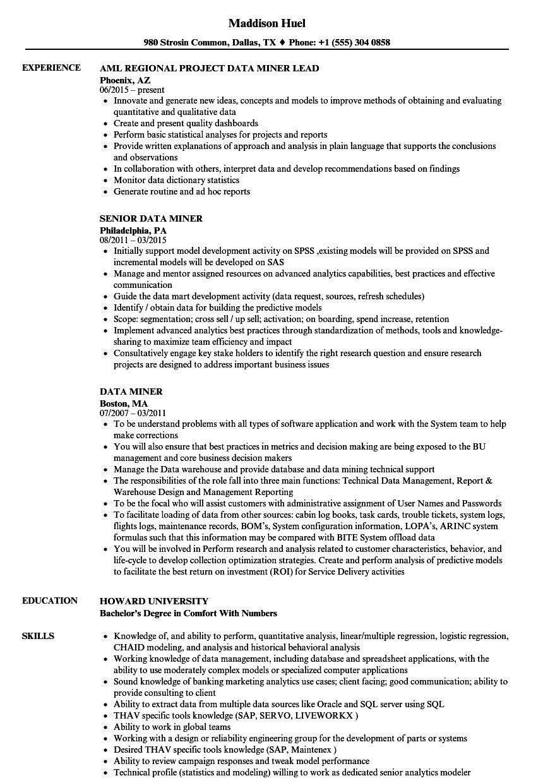 sample resume for miner