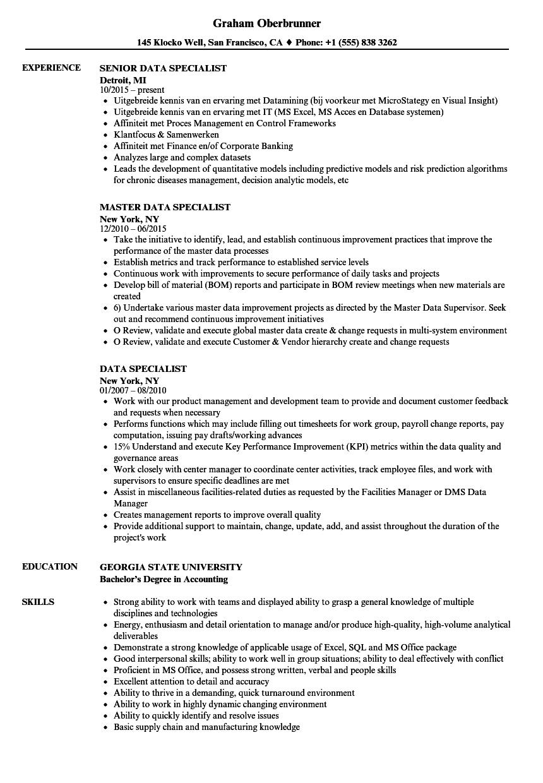 dta specialist resume sample