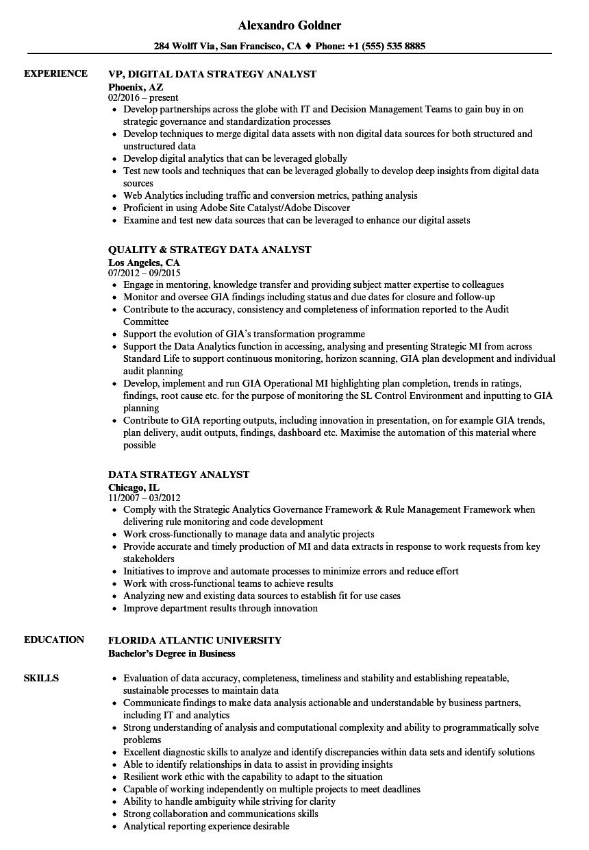 examples of objectives for product analyst resume
