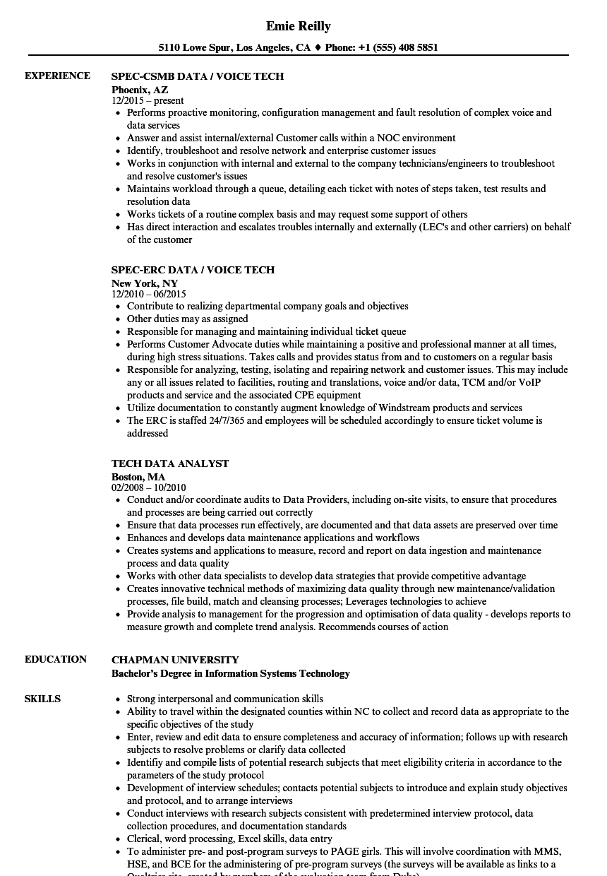 resume examples tech support
