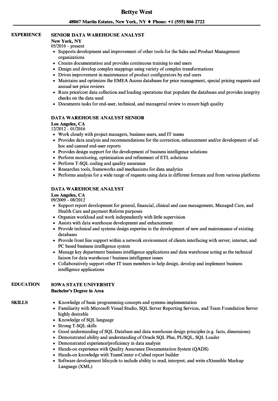 data warehouse analyst resume sample