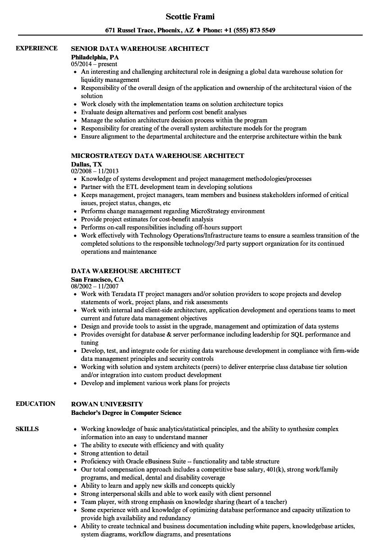 sample resume data warehouse architect