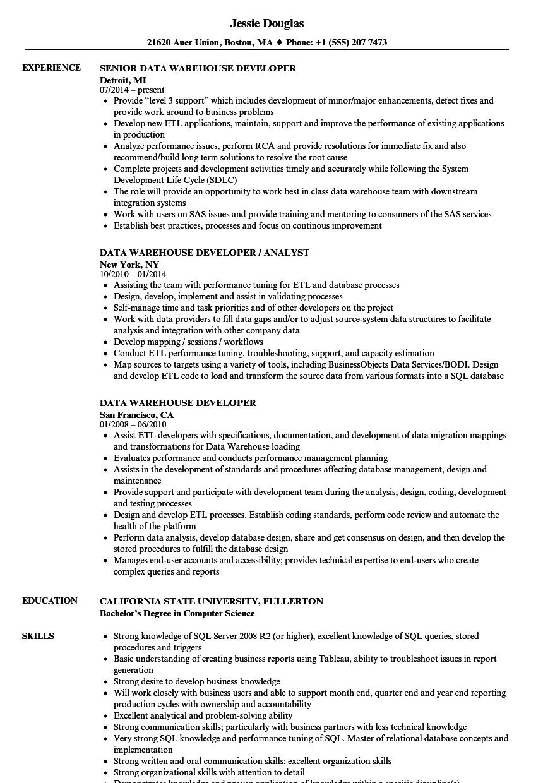 data warehouse developer resume example