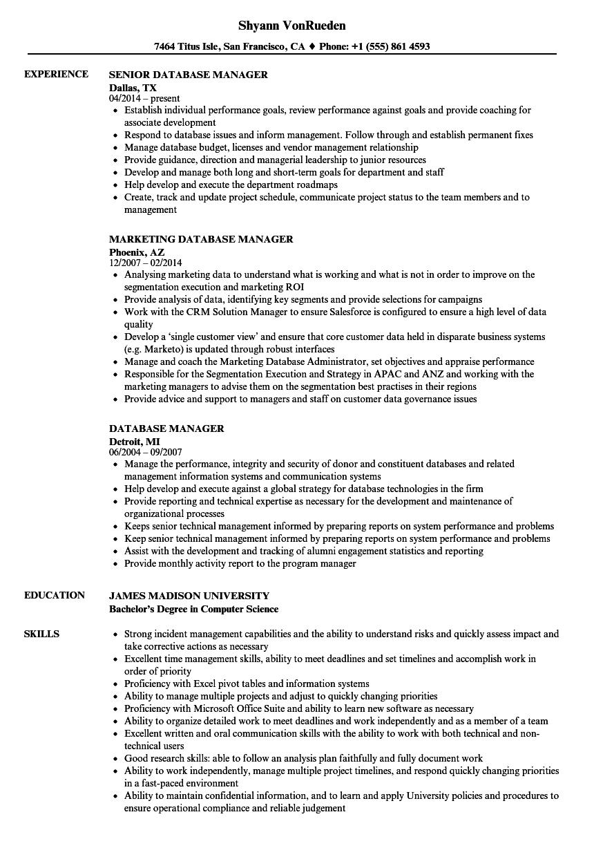 resume database pricing