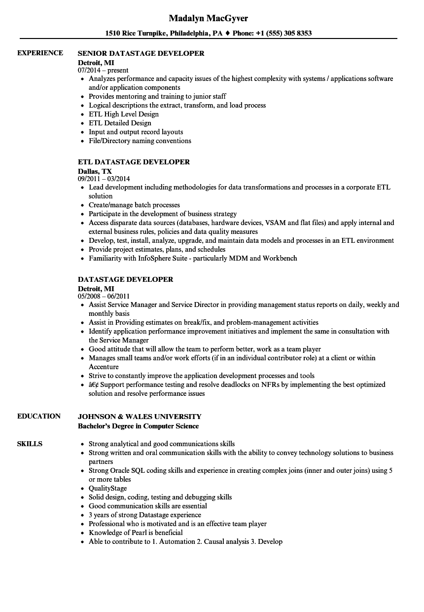 tibco developer sample resume