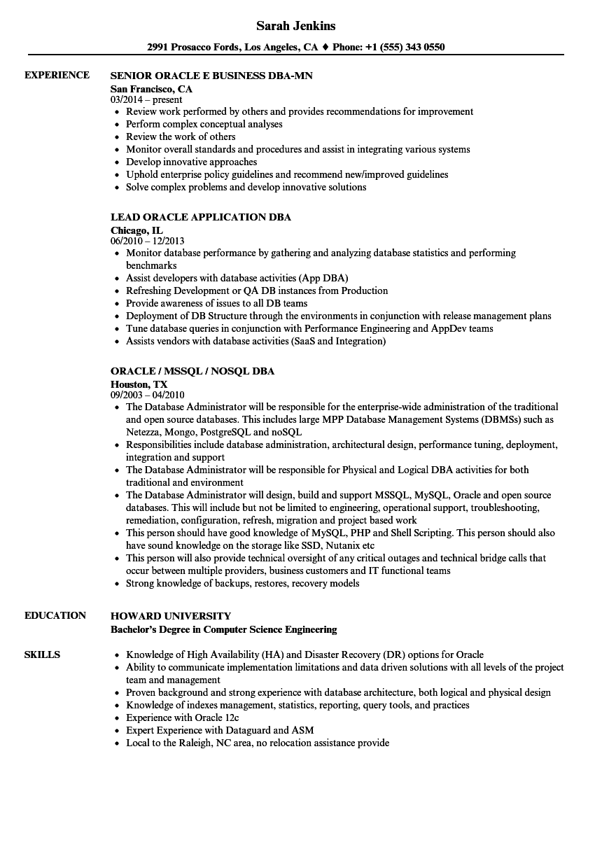 sample resume for oracle dba