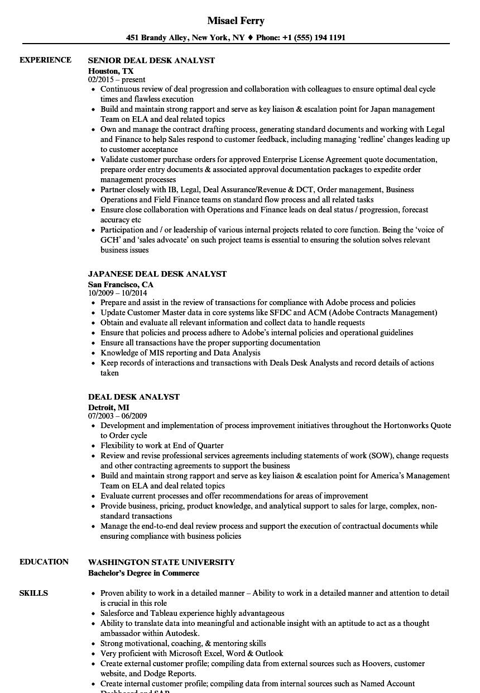 resume for service desk analyst