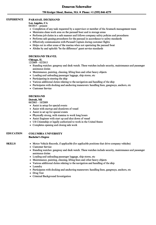 deckhand resume example