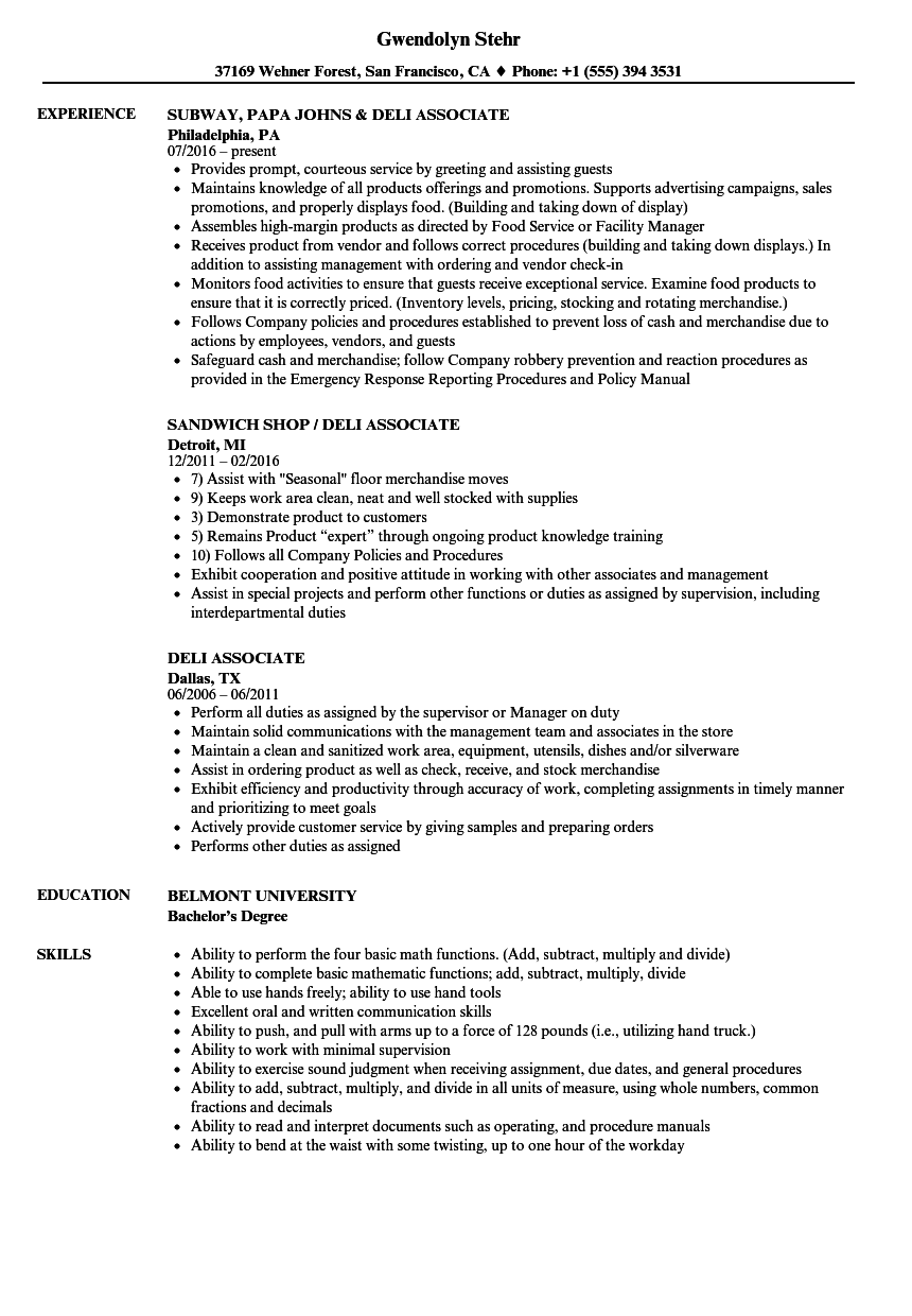 sample of sales associate resume