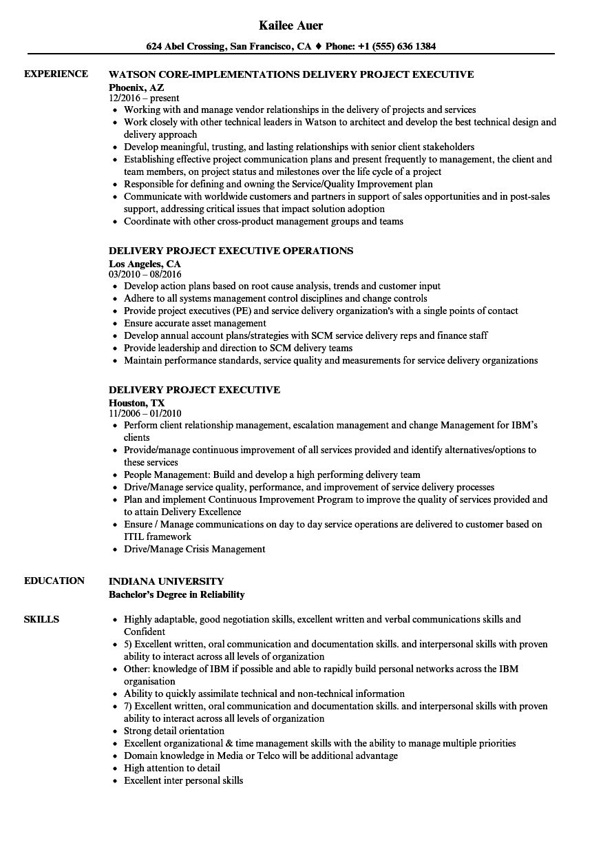 project manager consultant resume sample