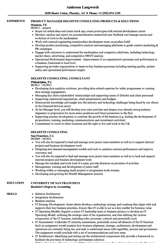 deloitte sample resume