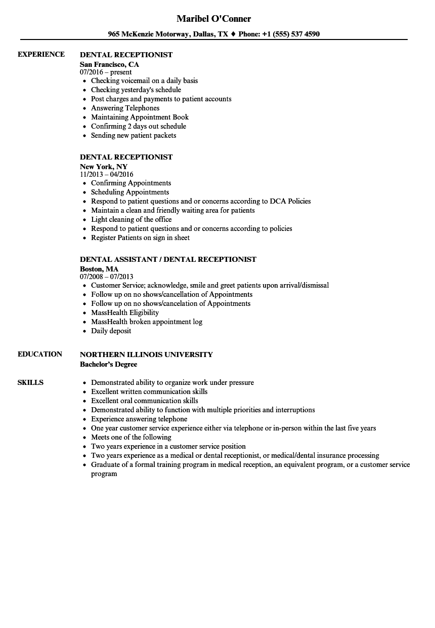 resume for receptionist at dental office