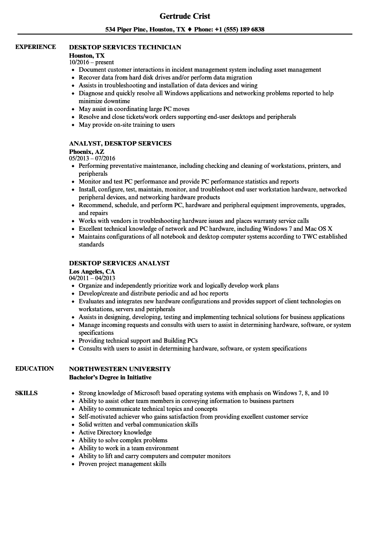 sample resume active directory microsoft windows desktop