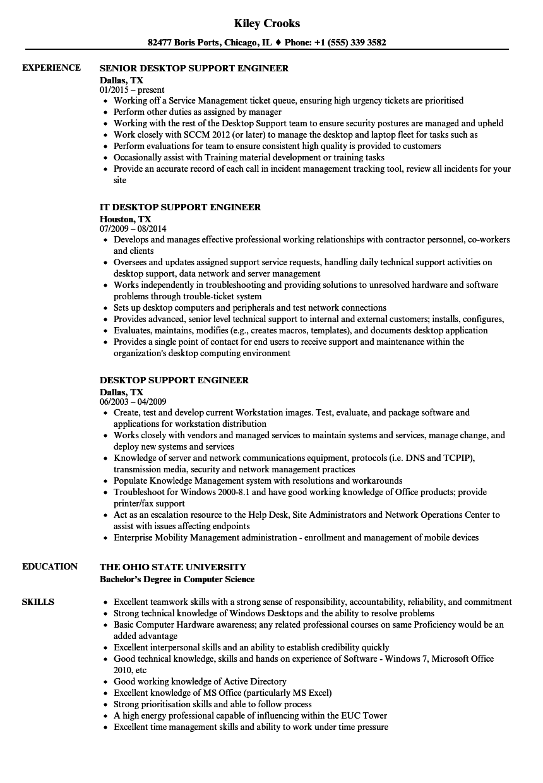 sample resume for experienced desktop support engineer