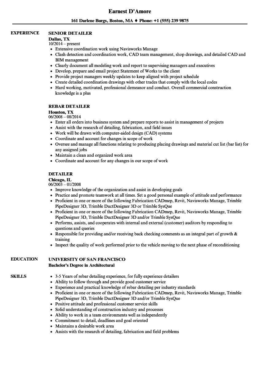 sample resume of steel detailer