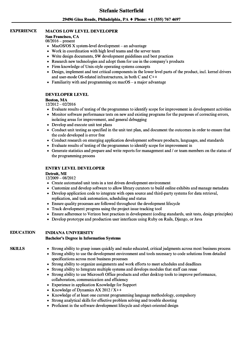 servicenow developer resume samples