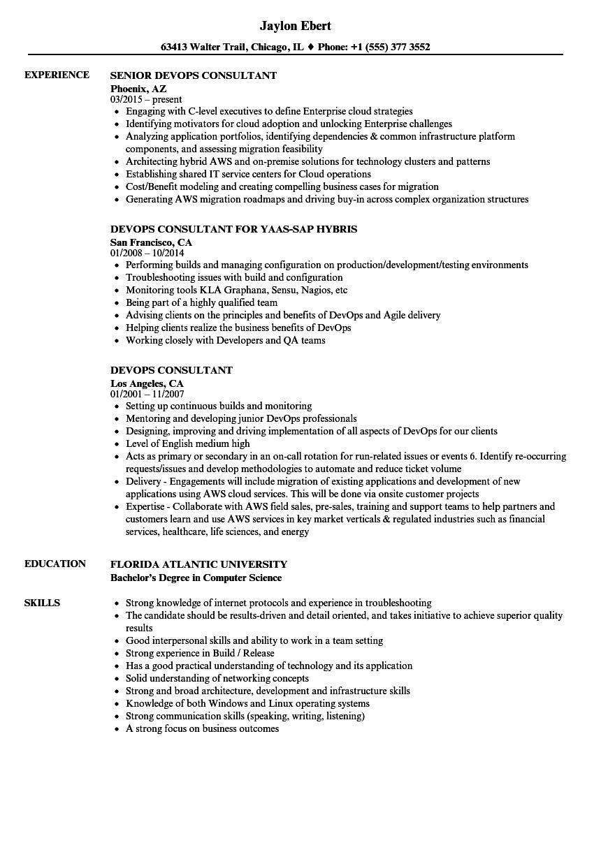 aws senior consultant sample resume
