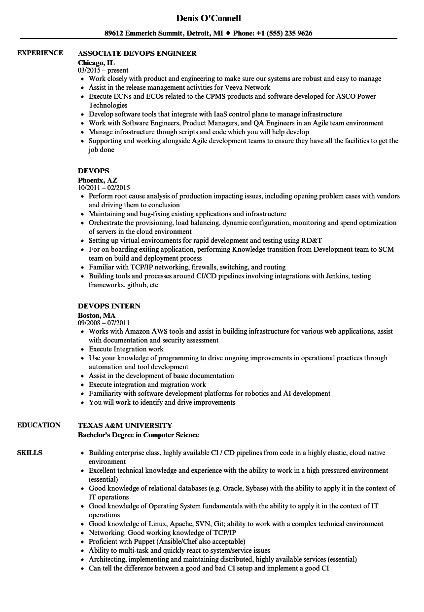 devops engineer cv example
