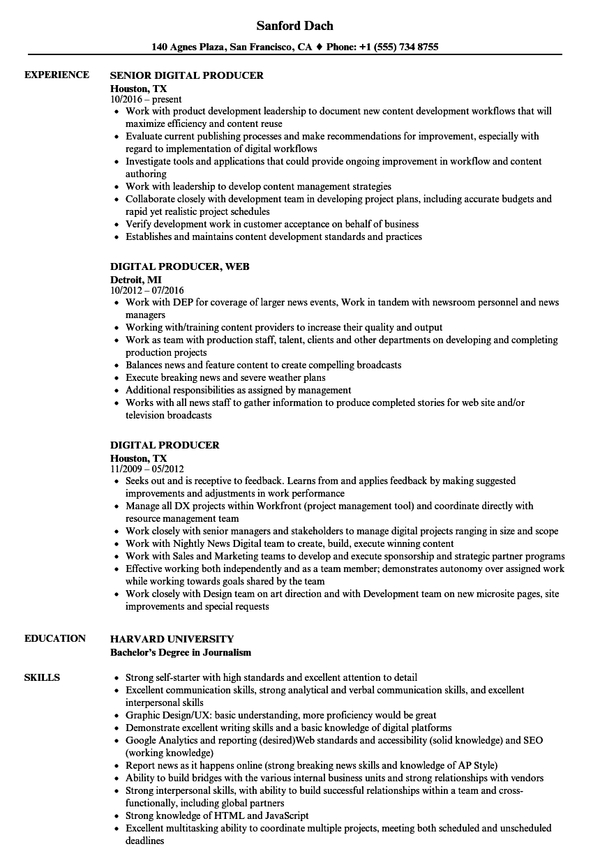 content producer resume sample