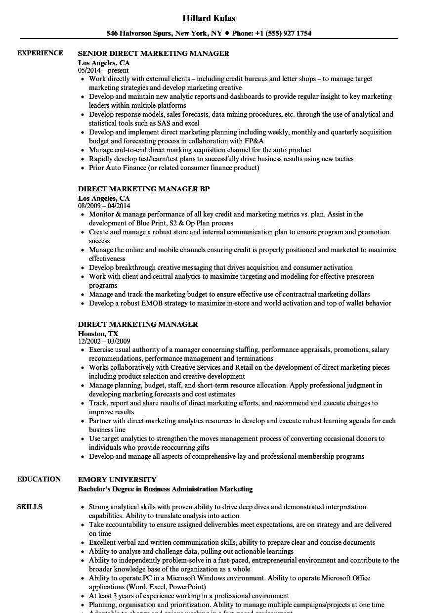 cv trade marketing manager