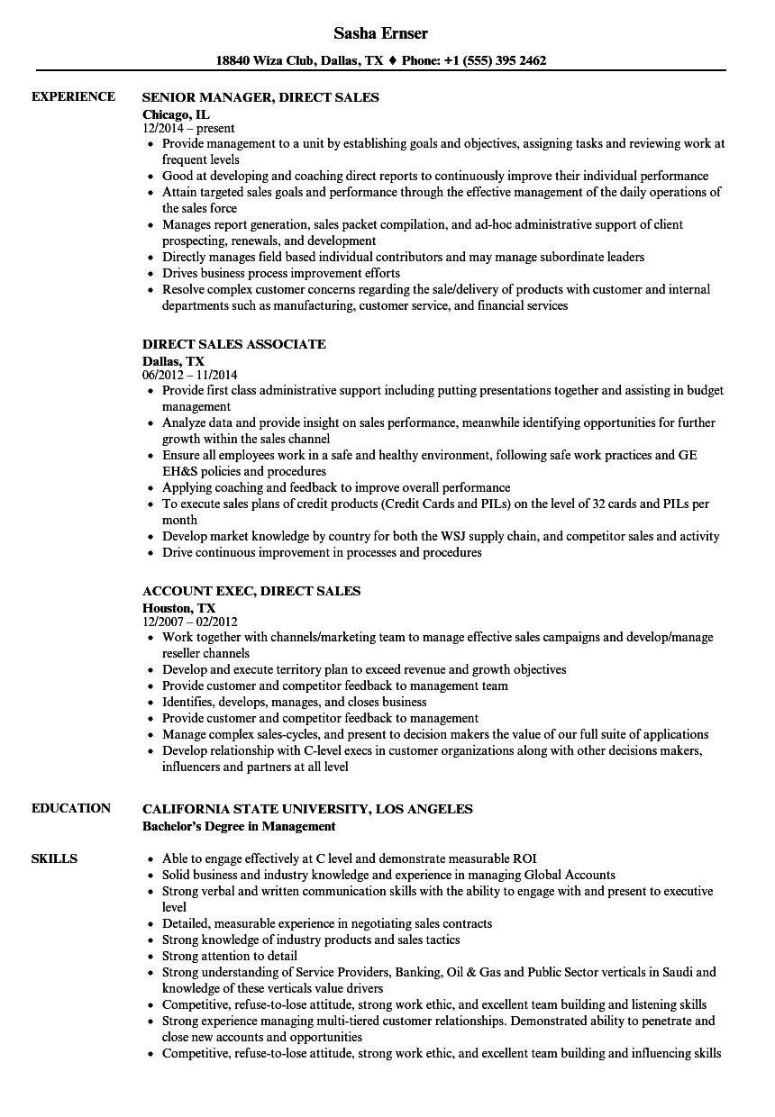 charter sales representative resume sample