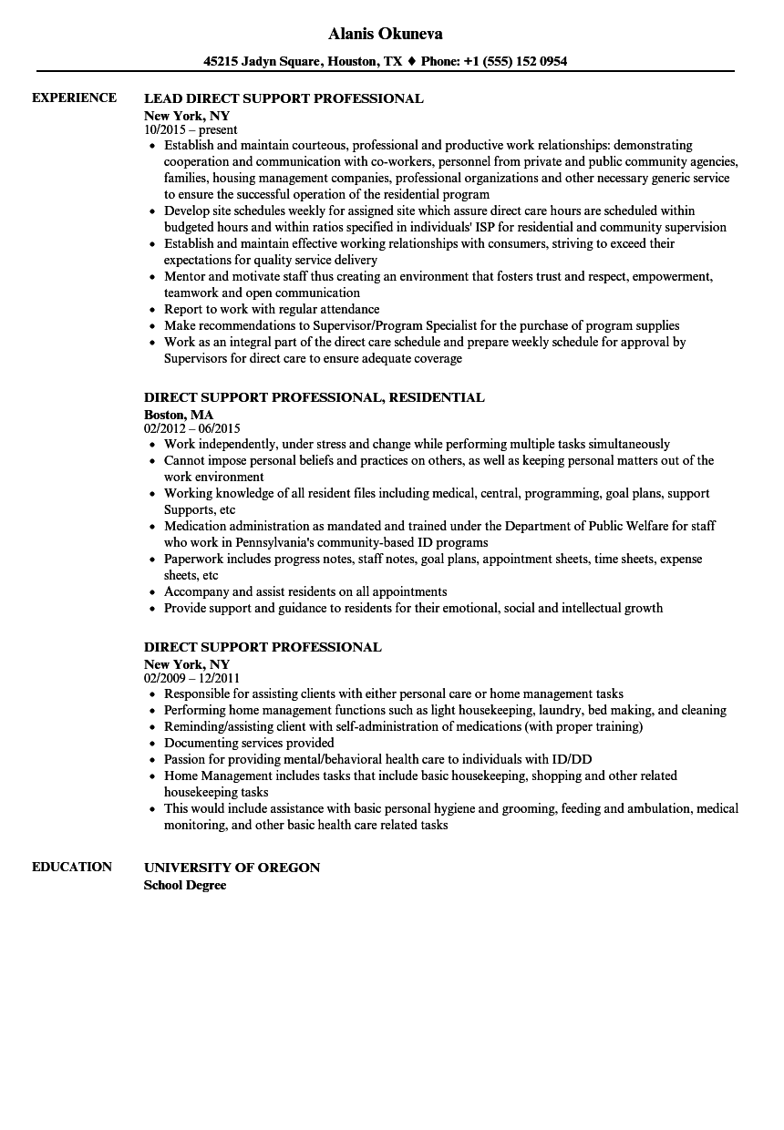 sample resume for direct care worker