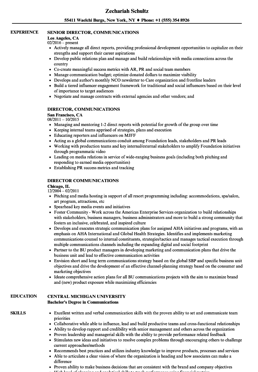 director of marketing and communications sample resume