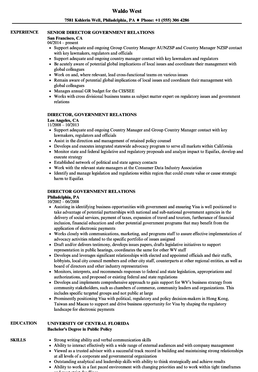 government management resume examples