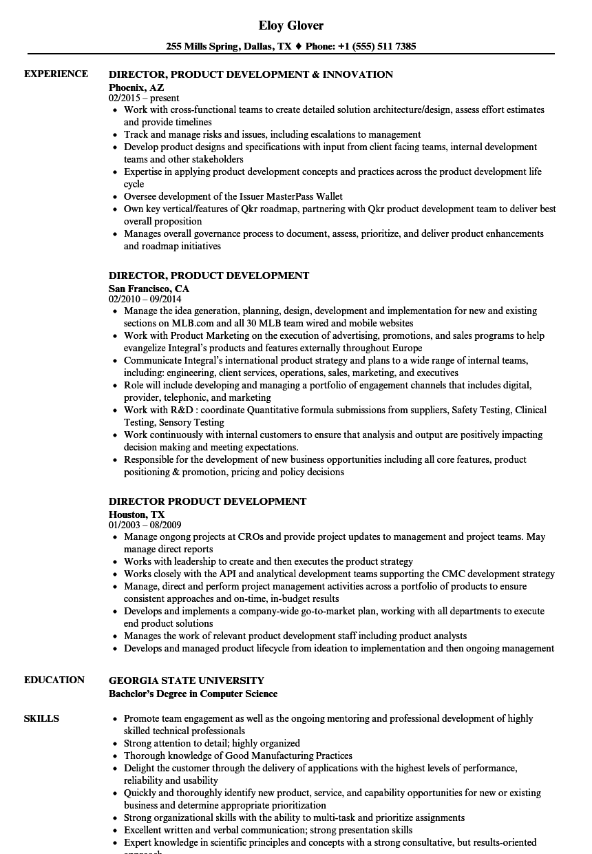 software product development manager resume sample