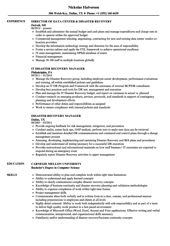 sample resume disaster management