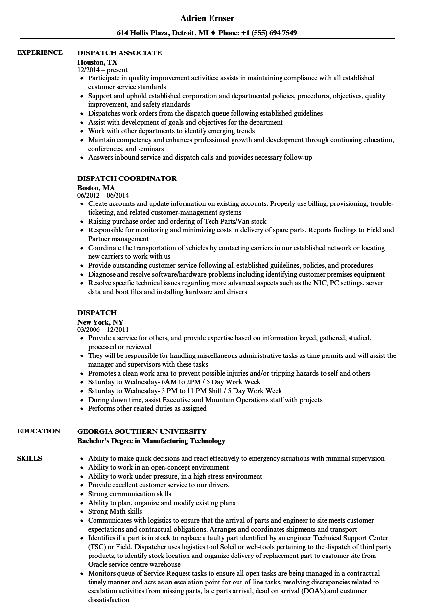 dispatch supervisor resume sample