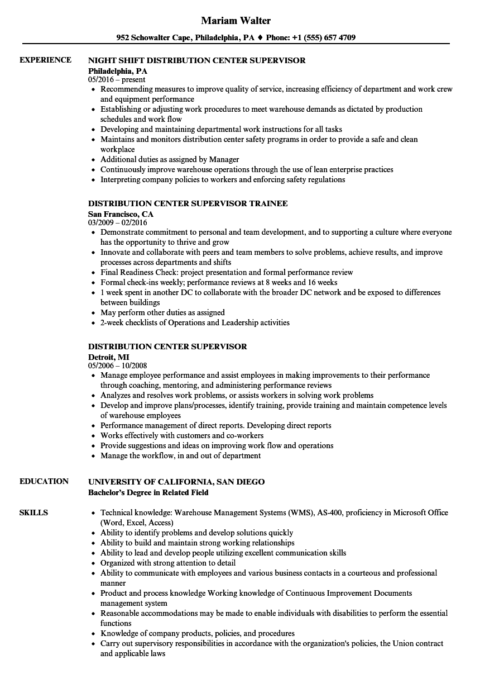 distribution supervisor resume example