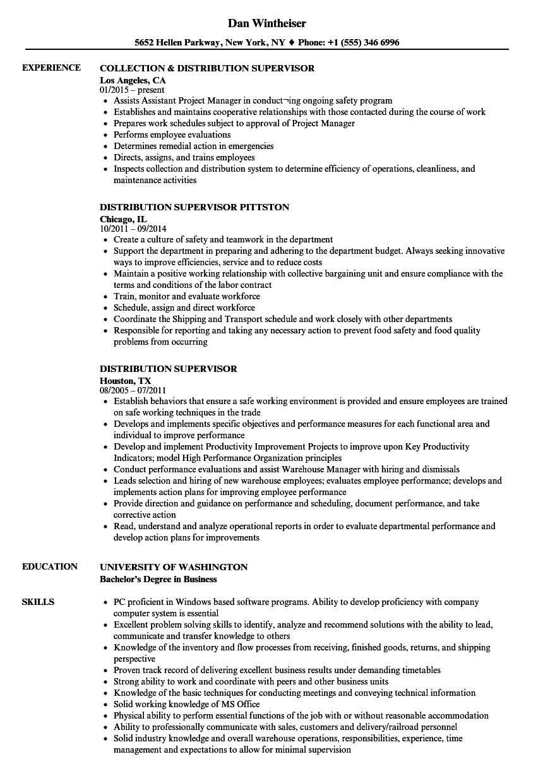 distribution coordinator resume sample